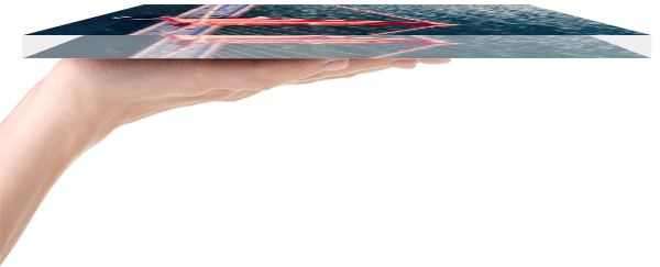 Impression sur plexiglas vue de côté